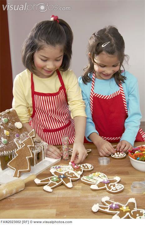 children making gingerbread cookies