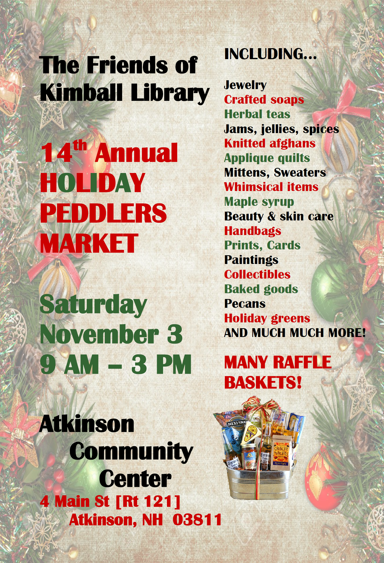 14th Annual Holiday Peddlers Market: November 3, 2018, 9am-3pm @Atkinson Community Center