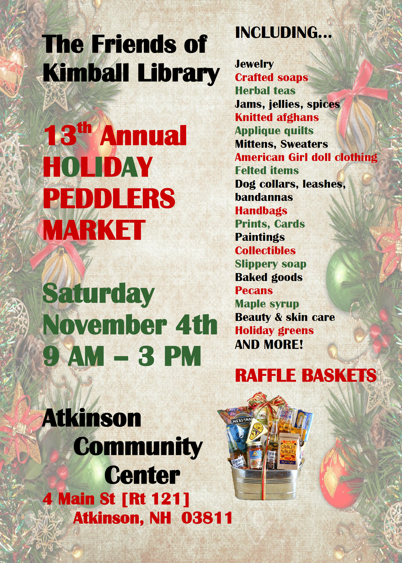 13th Annual Holiday Peddlers Market: November 4, 2017, 9am-3pm @Atkinson Community Center