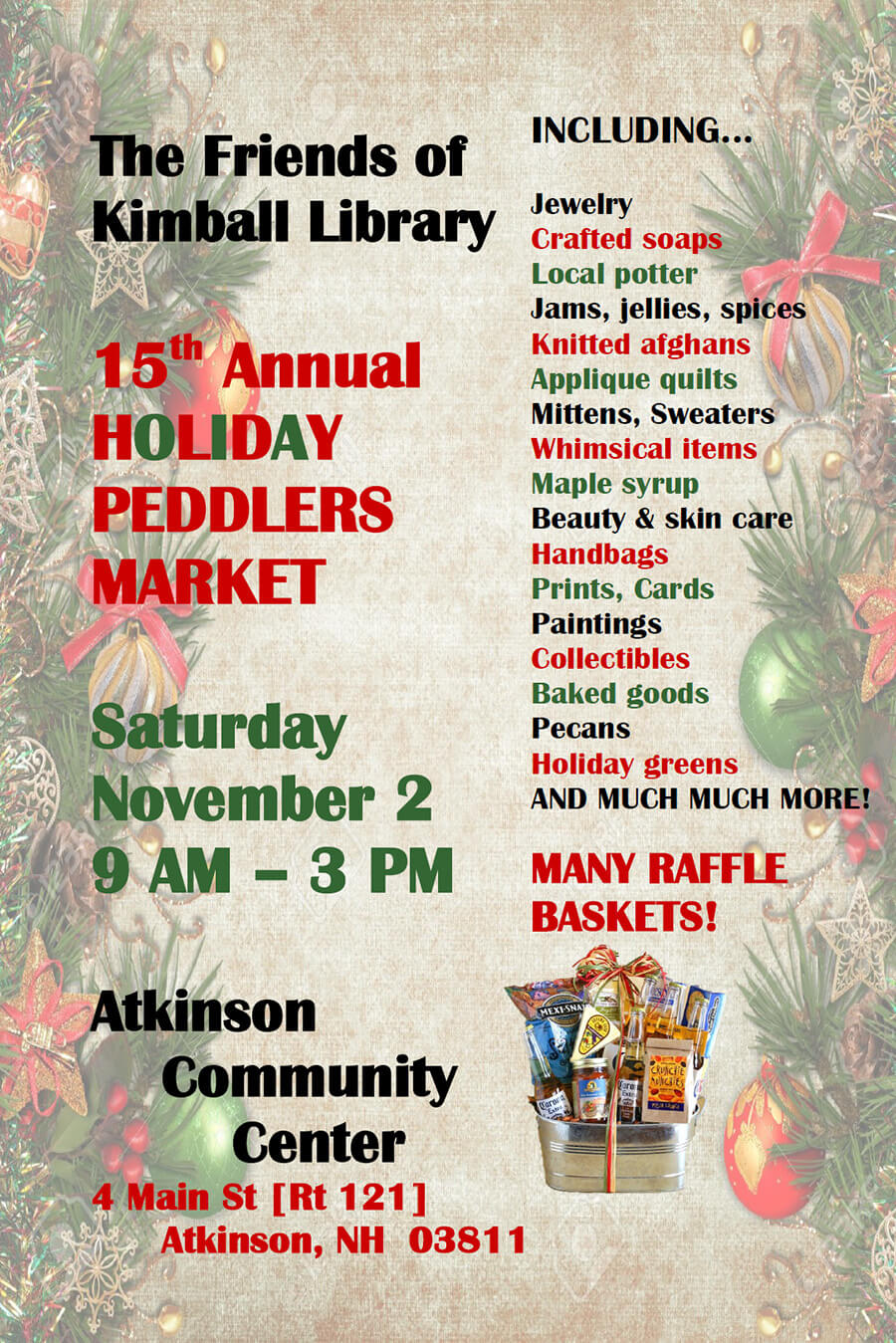15th Annual Holiday Peddlers Market: November 2, 2019, 9am-3pm @Atkinson Community Center